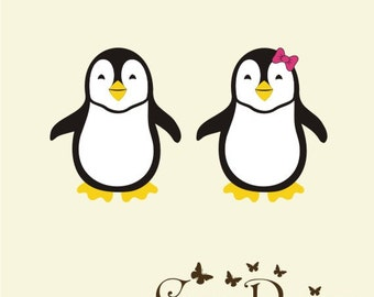 Penguin vinyl decal,  Vinyl wall decals stickers, nursery, kids & teens room, removable decals stickers