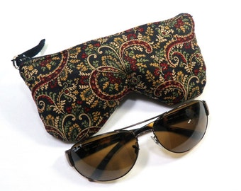 Paisley Eyeglasses Pouch/Case, Sunglasses Case, Zipper Eyeglass Case