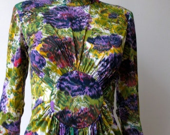 Vintage Boho 1970s Purple Floral Maxi Dress