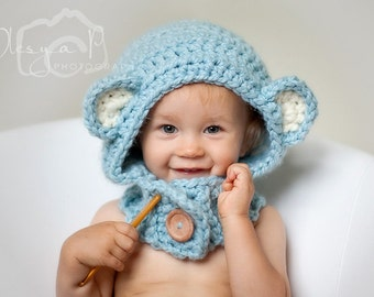 Download PDF crochet pattern s020 - Bear hood cowl - ONE SIZE toddler/child