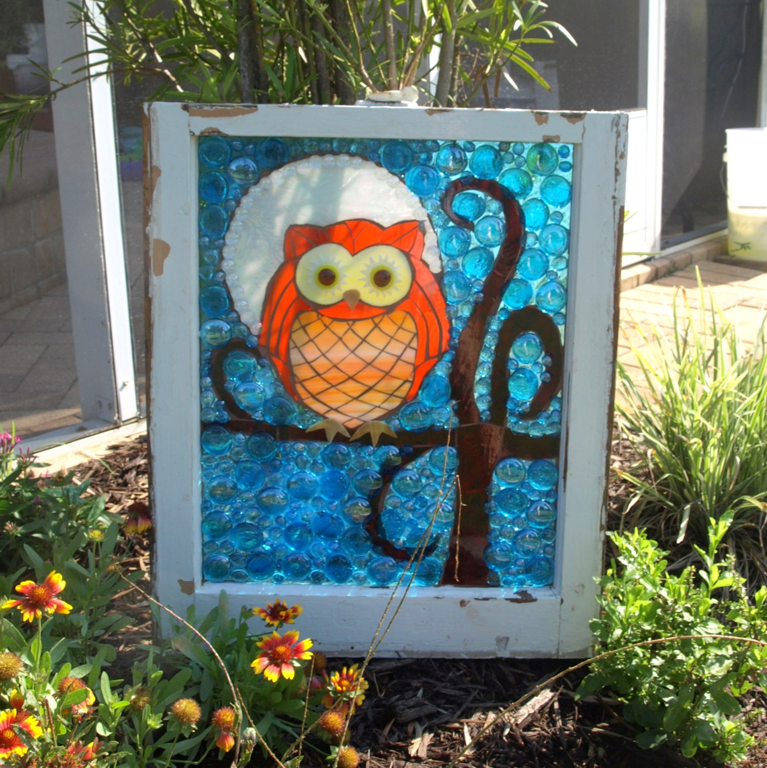 Stained glass mosaic window owl moon tree repurpose for Broken glass art projects