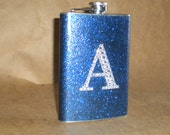 CUSTOM listing for Denise Rodriguez for 4 Sparkly 8 ounce Flasks with Rhinestone Initial KR2D 6780
