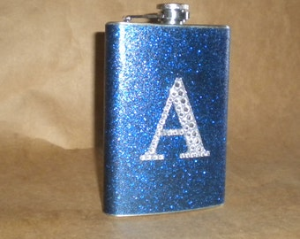 Bridesmaids Gift Flask Navy Blue or ANY Color Sparkly with ANY Rhinestone Initial 8 ounce Stainless Steel Girly Gift Flask KR2D 6780