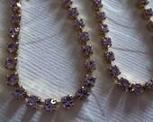 3mm Pale Violet Rhinestone Chain - Brass Setting - Purple Preciosa Czech Crystals