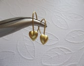 Brass Fish Hook French Earwire 20mm Earring FIndings with HEART Accent - Qty 24