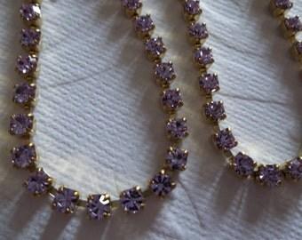 Rhinestone Chain Pale Violet Preciosa Czech Crystal 3mm 24PP 12SS in Brass Setting - Qty 1 yard