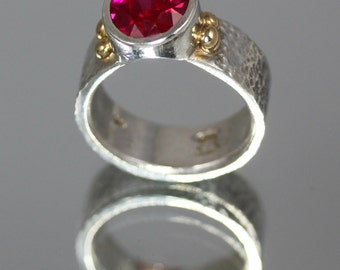 5 carat Radical Red Ruby Ring set in Sterling Silver with 14k Gold Ball Accents Soldered to Heavy Embossed Ring Shank SIZE 9.5 - 10