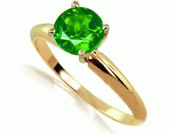Colombian Emerald Ring 14K  Yellow Gold