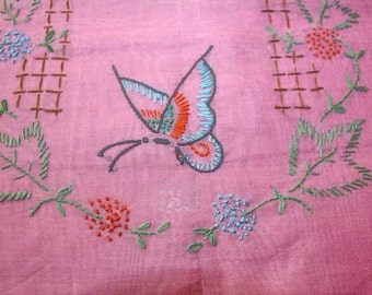Antique Boudoir Pillow Cover Sheer Organdy Pink with Flowers and Buterfly Unused