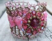Pink Wedding Bracelet - Rustic Wedding - Garden Wedding - Unique Corsage - Bride and Bridesmaid - Outdoor Wedding