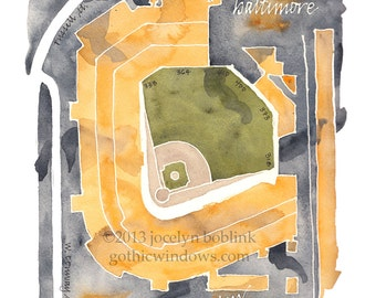 Stadium Watercolor Map of Your Favorite Ballpark or Arena in Sports Team Colors