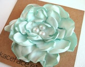 Satin Flower Hair Clip  -  Mint Green