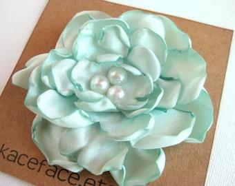 Satin Flower Hair Clip  -  Mint Green