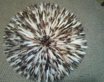 Natural Dark Brown and White juju hat..... 30inch