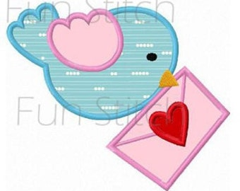 Valentine love bird applique machine embroidery design