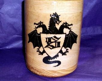 32 oz Hickory Three Headed Dragon and Shield Engraved Beer Mug, Wood Mug, Dragon Engraved Mug, Tankard, Beer Stein, S, Initial S Mug