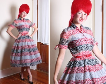 FABULOUS 1950's New Look Sheer Textured Nylon Red, Black, Grey & White Atomic Squares Print Party Dress w/ Rhinestone Lucite Buttons - M