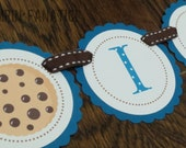 "Sesame Street Inspired Collection- ""I am One"" High Chair Banner with cookies. Cookie Monster Banner. Milk & Cookies. YUM. Chocolate Chips."