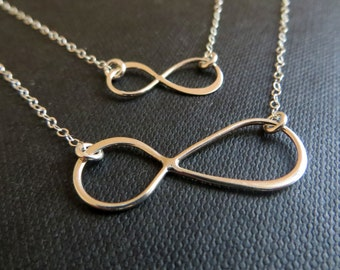 Mother daugher infinity necklace, gifts for mother, everyday jewelry, mom, figure eight, mommy and me fashion