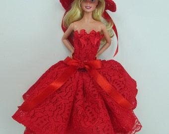 Barbie Doll Fashion flower Gown Dress and hat Royalty W38