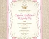 Princess Birthday Invitation, Classic Stripes, Customized Printable File, Princess Birthday Party
