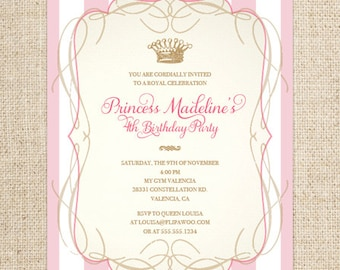 Princess Birthday Invitation, Classic Stripes, Customized Printable File, Princess Birthday Party