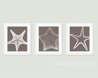 Starfish Digital Print Set - Taupe Brown - Vintage Modern Wall Art -  Nautical Home Decor - Spring Summer