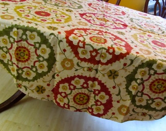 Table Cloth TCR1409  Round Turkish Style Bright, Round Table Cloth, Color, Table Cloth, Table Cloths, , Round, Table Cloth, Up Cycled Fabric