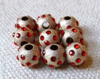 Sterling Silver Red Crystal Sparkle Beads - Oxidized Silver - 6mm - Large Hole - Qty 2 pcs