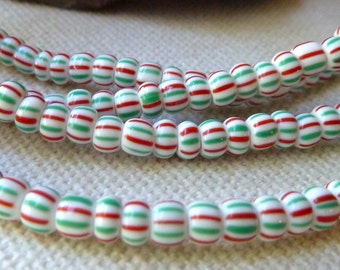 """Striped Vintage African Glass Trade Beads - Red & Green Stripes on White - 4x3mm,  Long 38"""" Strand"""