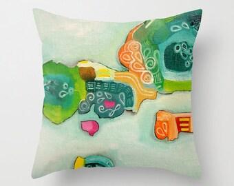 Throw Pillow Flower Floral Artwork printed on Pillow Viridian Pillow Cyan Throw Pillow