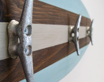 """Surfboard Towel Rack 28"""" with Boat Cleats Seafoam, Tan and Dark Stain"""