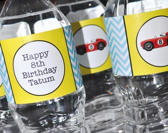 10 Water Bottle Labels - Boys Chevron Birthday Race Car Birthday - Party Decorations in Blue, Red, Yellow & Black