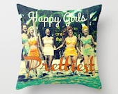 Decorative Pillow, Happy Girls are the Prettiest, Audrey Hepburn Quote Pillow,Coastal Pillow,  Beach Decor Gift, Girls Room Pillow Cover