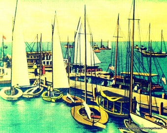 Sailboat Art, Nautical Wall Decor, Vintage Sailboats, Sailboat Print, Guy Gift, Art Gift,  Nautical Decor Boat photograph, Nautical Nursery