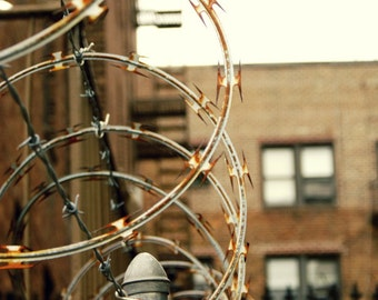 Barbed wire on a New York City Street Photography Print, NYC Urban Wall Art