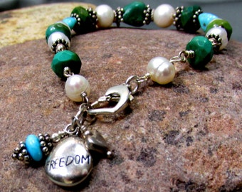 Freedom - Turquoise, sterling silver and Pearl, ODAAT