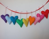 Rainbow Hearts Set of 9 brightly colored soft hearts nursery room decor birthday