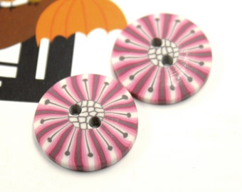 Purple Plastic Buttons with Dandelion Pattern, 0.87 inch, 10 in a set.