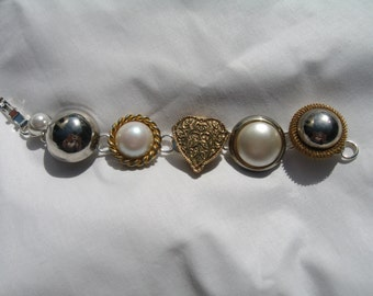 Vintage earring upcycled jewelry bracelet in gold, silver, pearl