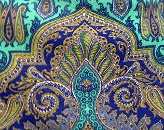BRILLIANT INDIGO PAISLEY  screenprint fabric by Design Legacy