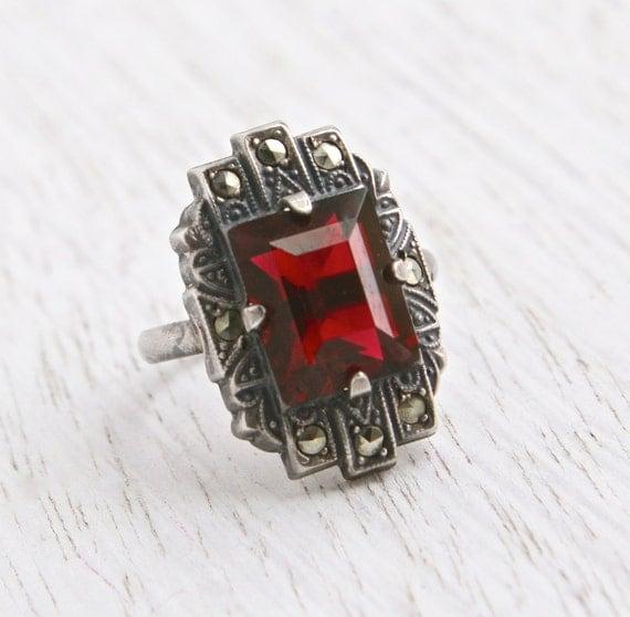 Vintage Marcasite Amp Garnet Red Stone Ring By Maejeanvintage