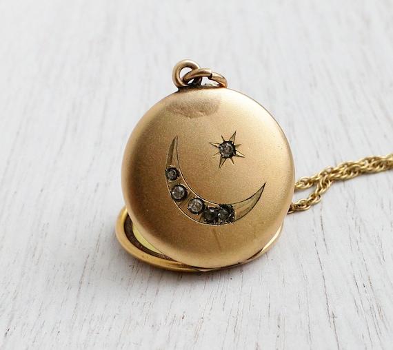 Antique Star Moon Locket Necklace Edwardian By Maejeanvintage
