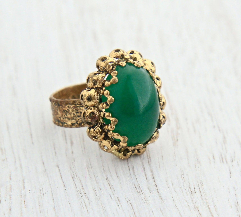 vintage green stone ring adjustable gold tone w germany. Black Bedroom Furniture Sets. Home Design Ideas