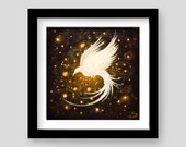 Phoenix Bird Giclee Art Print - Magic Fantasy Artwork - Winged Slumber