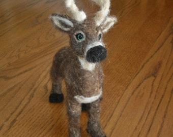 Stag Figure - needle felt deer with antlers