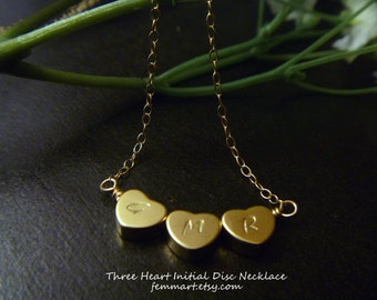Heart Initial Necklace - Initial Heart Necklace - Three initial Necklace - Gold Filled Chain - Sisterhood - Personalized - Friendship