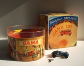 Vintage Antique German Wind Up Tin Toy / GAMA 505 Teufelsfahrer Dare Devil Autodrome with Original Box Top / Big Boy Toy