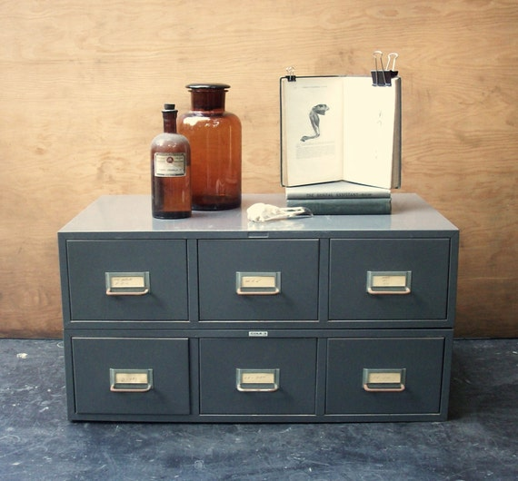 Drawer Vintage Metal Stacking File Cabinet Library Card Catalog