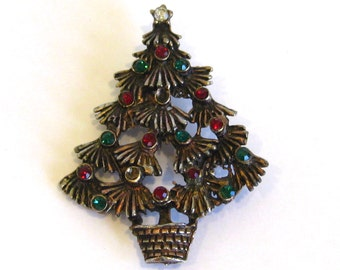 Vintage 50s Gold Jeweled Green & Red Rhinestone Christmas Tree Brooch Pin